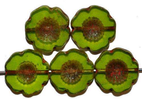 Best.Nr.:671071 Glasperlen / Table Cut Beads opalin grün, Blüten geschliffen mit bronze finish