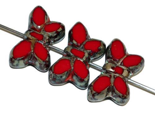 Best.Nr.:671017 Glasperlen / Table Cut Beads Schmetterlinge  geschliffen, rot opak mit picasso finish,  hergestellt in Gablonz Tschechien