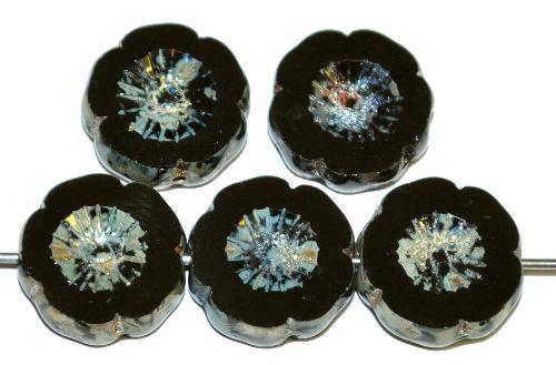 Best.Nr.:671079 Glasperlen / Table Cut Beads Blüten geschliffen schwarz mit picasso finish, hergestellt in Gablonz / Tschechien