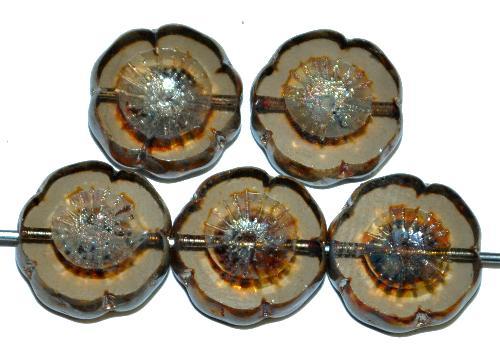 Best.Nr.:671092 Glasperlen / Table Cut Beads Blüten geschliffen blackdiamond transparent mit picasso finish hergestellt in Gablonz / Tschechien