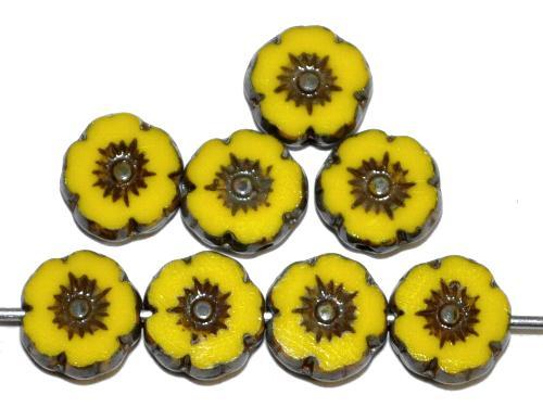 Best.Nr.:671098 Glasperlen / Table Cut Beads Blüten geschliffen gelb opak mit picasso finish, hergestellt in Gablonz / Tschechien
