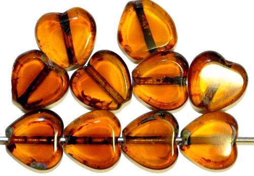 Best.Nr.:671108 Glasperlen / Table Cut Beads Herzen, topas geschliffen mit picasso finish,  hergestellt in Gablonz / Tschechien