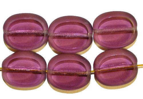 Best.Nr.:671114 Glasperlen / Table Cut Beads geschliffen, violett transp. Rand mattiert (frostet), hergestellt in Gablonz / Tschechien