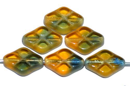 Best.Nr.:67113 Glasperlen / Table Cut Beads geschliffen topas blau transp. Rand mattiert (frostet), hergestellt in Gablonz / Tschechien