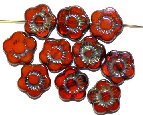 Best.Nr.:671131  Glasperlen / Table Cut Beads  orange mit picasso finish,  hergestellt in Gablonz / Tschechien