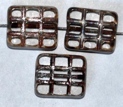 Best.Nr.:671135 Glasperlen geschliffen / Table Cut Beads, kristall, mit eingepägtem Rechteckornament, und burning silver picasso finish