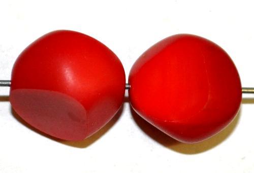 Best.Nr.:671136 Glasperlen / Table Cut Beads geschliffen,  rot opak, Rand mattiert,  hergestellt in Gablonz / Tschechien