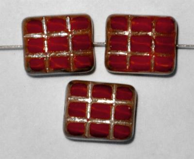 Best.Nr.:671138 Glasperlen geschliffen / Table Cut Beads, rot Perlettglas, mit eingepägtem Rechteckornament und burning silver picasso finish