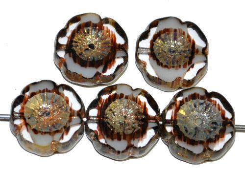 Best.Nr.:671139 Glasperlen / Table Cut Beads Blüten geschliffen  kristall weiß braun mit picasso finish hergestellt in Gablonz / Tschechien