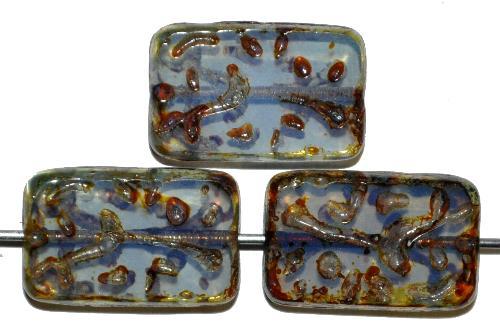 Best.Nr.:67114 Glasperlen / Table Cut Beads geschliffen Opalglas mit Travertin-Veredelung, hergestellt in Gablonz / Tschechien