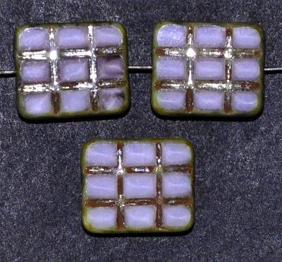 Best.Nr.:671142 Glasperlen geschliffen / Table Cut Beads, weiß violett, mit eingepägtem Rechteckornament, und burning silver picasso finish