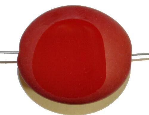 Best.Nr.:671143 Glasperlen / Table Cut Beads geschliffen rot opak Rand mattiert (frostet), hergestellt in Gablonz / Tschechien