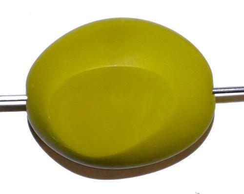 Best.Nr.:671144 Glasperlen / Table Cut Beads geschliffen olivgrün opak Rand mattiert (frostet), hergestellt in Gablonz / Tschechien