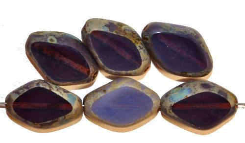 Best.Nr.:671146 Glasperlen / Table Cut Beads geschliffen, Opalglas violett mit picasso finish, hergestellt in Gablonz / Tschechien