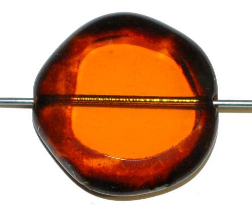 Best.Nr.:671154  Glasperlen geschliffen / Table Cut Beads,  topas transp. mit picasso finish,  hergestellt in Gablonz / Tschechien