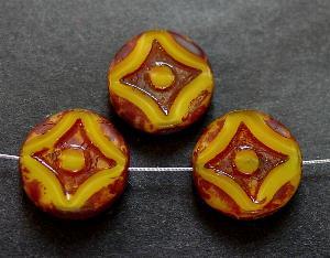 Best.Nr.:671155 Glasperlen / Table Cut Beads gelb Perlettglas, geschliffen mit picasso finish