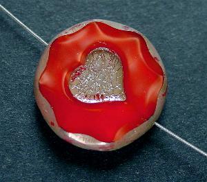 Best.Nr.:671159 Glasperlen / Table Cut Beads, mit eingeprägtem Herz, Perlettglas karmesinrot, geschliffen mit picasso finish