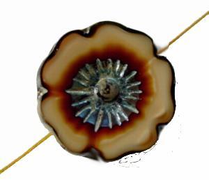 Best.Nr.:671286 Glasperlen / Table Cut Beads, beigebraun, geschliffen mit burning silver picasso finish
