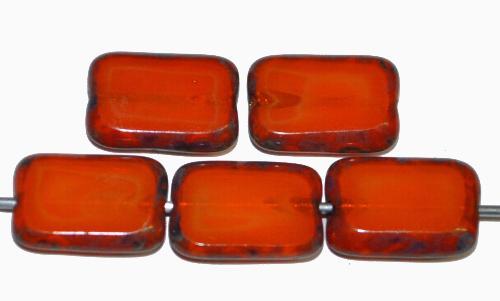Best.Nr.:67117 Glasperlen / Table Cut Beads  Rechtecke geschliffen,  mit Travertin-Veredelung