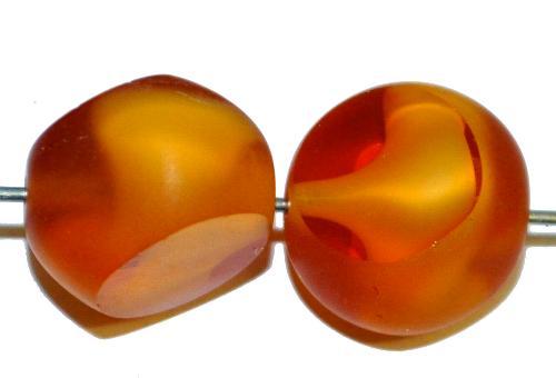 Best.Nr.:671175 Glasperlen / Table Cut Beads geschliffen,  topas, Rand mattiert,  hergestellt in Gablonz / Tschechien