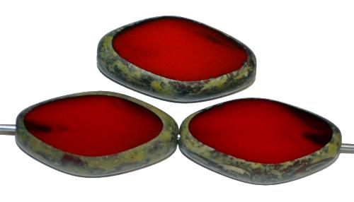 Best.Nr.:671177 Glasperlen / Table Cut Beads geschliffen Alabasterglas dunkelrot mit picasso finish, hergestellt in Gablonz Tschechien