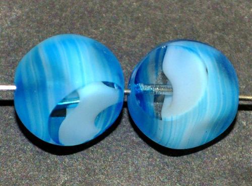 Best.Nr.:671193 Glasperlen / Table Cut Beads geschliffen,  kristall weiß hellblau, Rand mattiert,  hergestellt in Gablonz / Tschechien