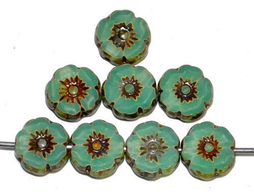 Best.Nr.:671205 Glasperlen / Table Cut Beads Blüten geschliffen Opalglas oceangreen mit picasso finish, hergestellt in Gablonz / Tschechien