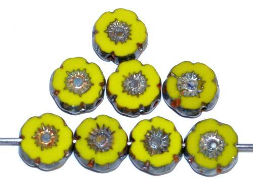 Best.Nr.:67122 Glasperlen / Table Cut Beads Blüten geschliffen olivgelb opak mit picasso finish, hergestellt in Gablonz / Tschechien