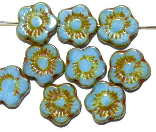 Best.Nr.:671227 Glasperlen / Table Cut Beads  hellblau mit picasso finish,  hergestellt in Gablonz / Tschechien