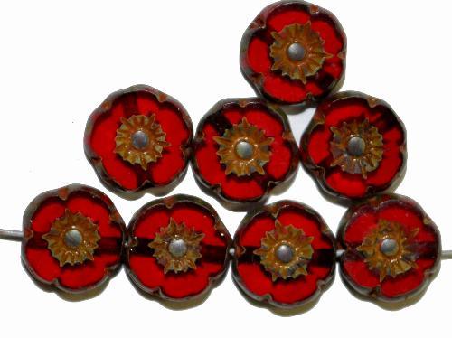 Best.Nr.:671230 Glasperlen / Table Cut Beads Blüten geschliffen  dunkelrot transp. mit burning silver picasso finish,  hergestellt in Gablonz / Tschechien
