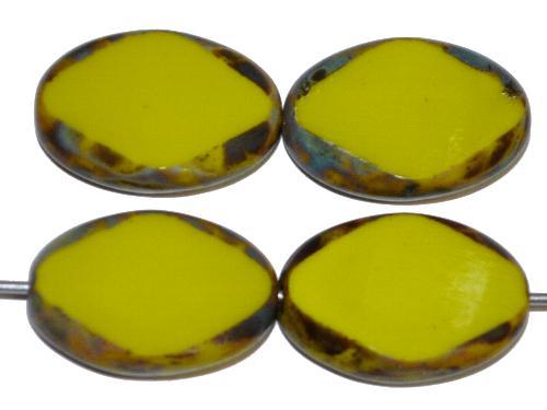 Best.Nr.:671235 Glasperlen / Table Cut Beads geschliffen,  oliv opak mit picasso finish, hergestellt in Gablonz Tschechien