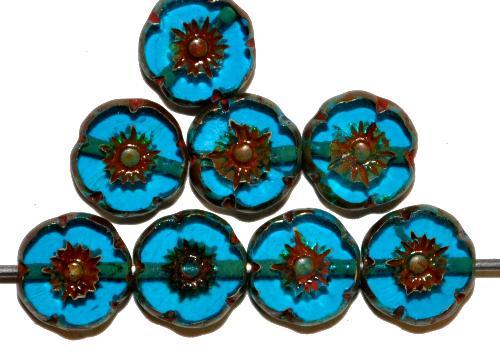 Best.Nr.:67124 Glasperlen / Table Cut Beads Blüten geschliffen  montanablau transp. mit burning silver picasso finish,  hergestellt in Gablonz / Tschechien