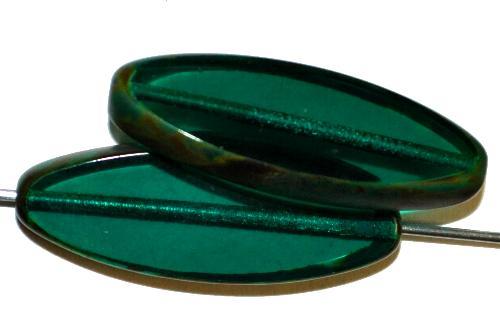 Best.Nr.:67124 Glasperlen / Table Cut Beads geschliffen,  smaragd transp. mit picasso finish,  hergestellt in Gablonz / Tschechien