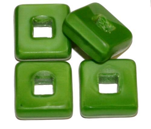 Best.Nr.:671241 Glasperlen / Table Cut Beads geschliffen, grün opak, Rand mattiert, hergestellt in Gablonz / Tschechien