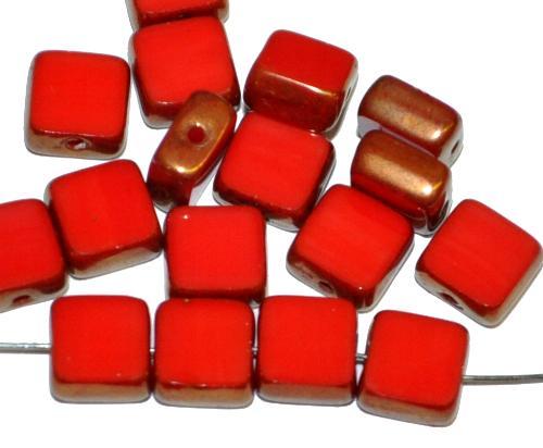Best.Nr.:67854 Glasperlen / Table Cut Beads geschliffen  rot opak Rand mit bronze finish,  hergestellt in Gablonz / Tschechien