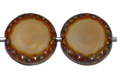Best.Nr.:671243 Glasperlen / Table Cut Beads Scheiben geschliffen beige opak mit picasso finish, hergestellt in Gablonz / Tschechien