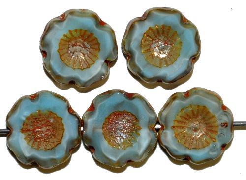 Best.Nr.:671246 Glasperlen / Table Cut Beads Blüten geschliffen Perlettglas blassblau mit burning silver picasso finish, hergestellt in Gablonz / Tschechien
