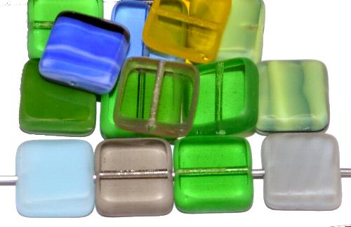 Best.Nr.:65070 Glasperlen / Table Cut Beads Rechtecke geschliffen, Farbmix Rand mattiert (frostet), hergestellt in Gablonz Tschechien