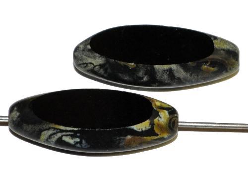 Best.Nr.:671257 Glasperlen / Table Cut Beads   geschliffen, schwarz mit picasso finish,   hergestellt in Gablonz / Tschechien
