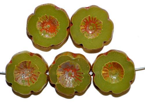 Best.Nr.:671266 Glasperlen / Table Cut Beads Blüten geschliffen  Opalglas oliv mit picasso finish,  hergestellt in Gablonz / Tschechien