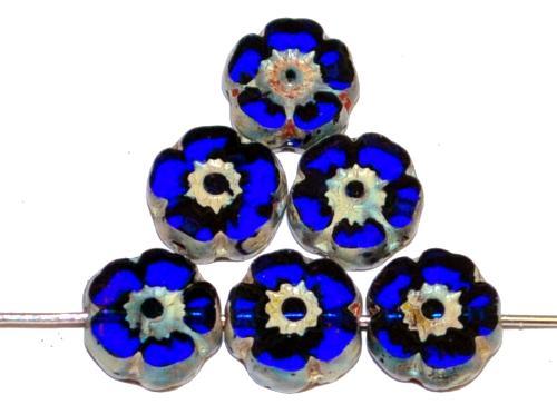 Best.Nr.:671267  Glasperlen / Table Cut Beads Blüten geschliffen  dunkelblau transp. mit picasso finish,  hergestellt in Gablonz / Tschechien