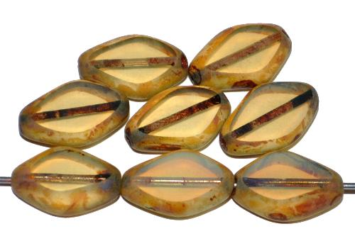 Best.Nr.:671287 Glasperle / Table Cut Bead  geschliffen, Opalglas mit picasso finish, hergestellt in Gablonz / Tschechien