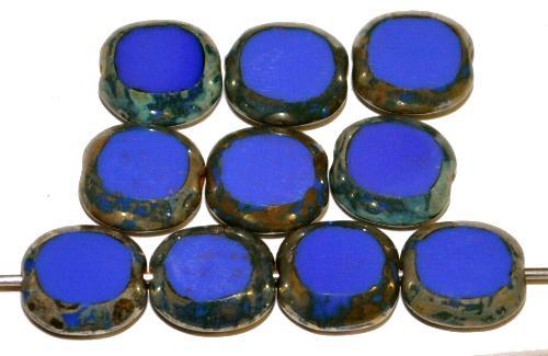 Best.Nr.:671288 Glasperlen / Table Cut Beads geschliffen, dunkelblau opak mit picasso finish, hergestellt in Gablonz Tschechien