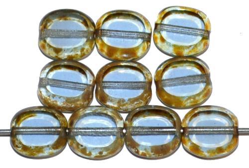 Best.Nr.:671288 Glasperlen / Table Cut Beads geschliffen, aqua transp. mit picasso finish, hergestellt in Gablonz Tschechien