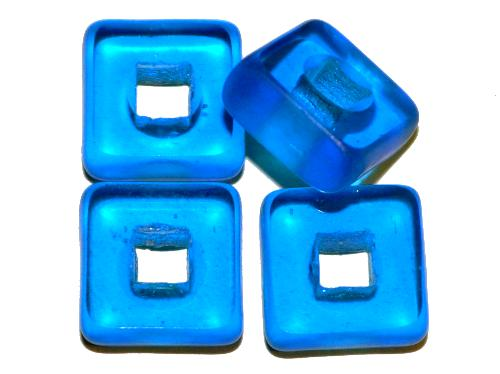 Best.Nr.: 671290  Glasperlen / Table Cut Beads  geschliffen, blau transp., Rand mattiert,  hergestellt in Gablonz / Tschechien