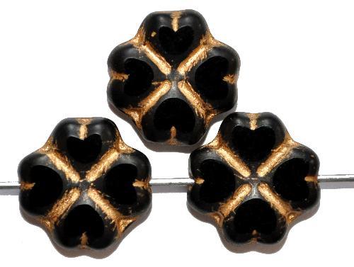 Best.Nr.:671291 Glasperlen / Table Cut Beads  geschliffen, schwarz mit Goldauflage Rand mattiert,  hergestellt in Gablonz / Tschechien