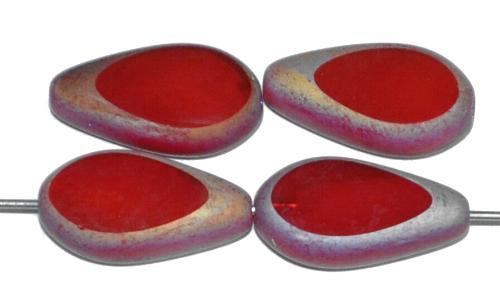 Best.Nr.:671292 Glasperlen / Table Cut Beads geschliffen, rot opak Rand mattiert (frostet) mit metallic finish, hergestellt in Gablonz / Tschechien