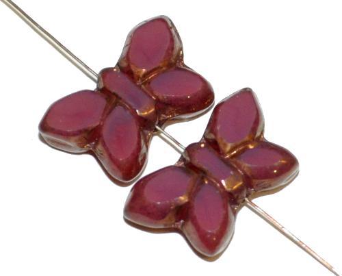 Best.Nr.:671294 Glasperlen / Table Cut Beads Schmetterlinge geschliffen, Opalglas brombeer mit bronze finish, hergestellt in Gablonz Tschechien