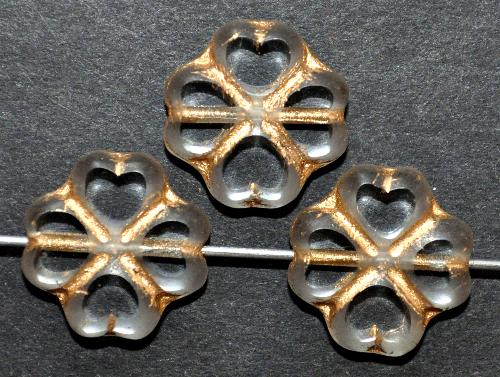 Best.Nr.: 671295  Glasperlen / Table Cut Beads   geschliffen, kristall mit Goldauflage Rand mattiert,   hergestellt in Gablonz / Tschechien