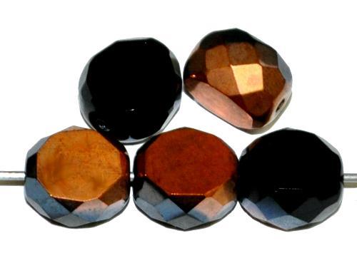 Best.Nr.:671296 Glasperlen / Table Cut Beads geschliffen, schwarz mit metallic finish, Rand mit Facettenschliff, hergestellt in Gablonz / Tschechien